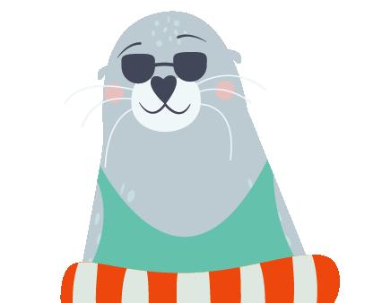 Robbe mit Sonnenbrille und Rettungsring
