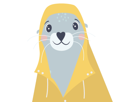 Robbe mit gelben Regenmantel